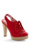 Stride, Stride Again Heel - Red, Tan / Cream, Solid, Bows, Cutout, Woven, Casual, Nautical