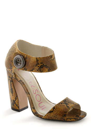 Coil of My Dreams Heel - Gold, Black, Animal Print, Buttons, Tan / Cream, Party