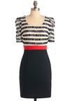 Stripe Place, Stripe Time Dress - Black, Multi, Stripes, Sheath / Shift, Casual, Rockabilly, Vintage Inspired, Red, White, Short Sleeves, Short, Work, Sheer