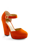 Trip to the Tropics Heel - Orange, Solid, Buckles, Platform, High, Chunky heel