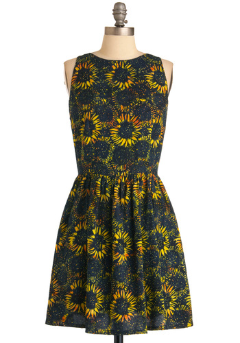 Electric Sun Dress by Sugarhill Boutique - Yellow, Floral, Pleats, A-line, Casual, Multi, Blue, Sleeveless, Summer, Short, International Designer