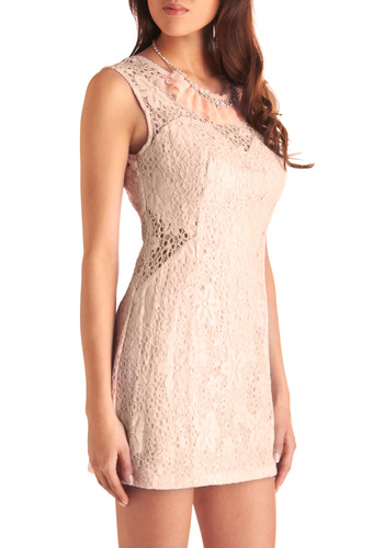 I Can Tell You This Blush Dress - Pink, Cutout, Exposed zipper, Shift, Sleeveless, Lace, Party, Spring, Short