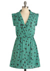 You Look Migrate Dress by Sugarhill Boutique - Green, Black, Buttons, Wrap, Short Sleeves, Print with Animals, Short, V Neck, International Designer