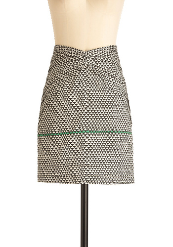 Life's Beam Good Skirt by Skunkfunk - Mid-length, Green, Print, Pockets, Statement, Black, White, Party