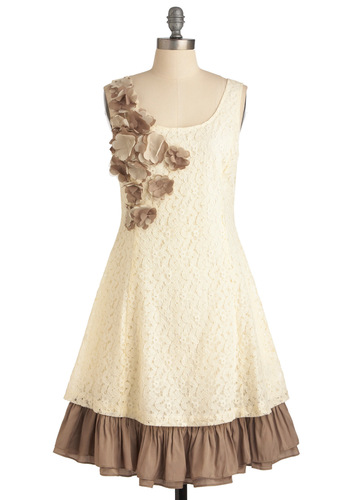 Vanilla Biscotti Dress by Ryu - Mid-length, Cream, Flower, Ruffles, A-line, Sleeveless, Party, Brown, Wedding, Lace