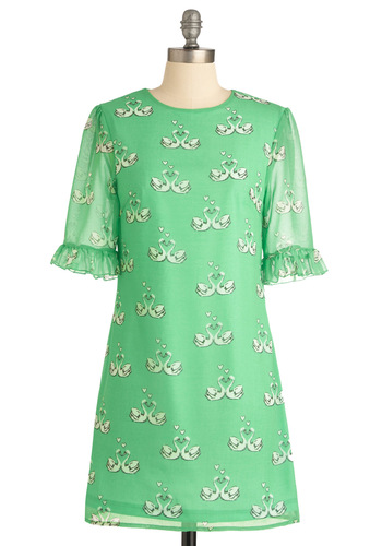 The Swan I Love Dress by Sugarhill Boutique - Vintage Inspired, Green, Ruffles, Shift, 3/4 Sleeve, Short, Casual, Print with Animals, International Designer