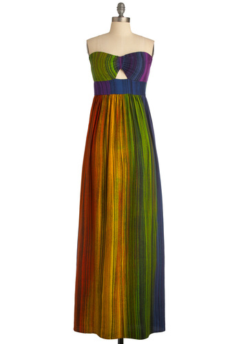 As a Matter of Refract Dress by Sugarhill Boutique - Long, Multi, Cutout, Pleats, Maxi, Strapless, Boho, 70s, Statement, Orange, Yellow, Green, Blue, Purple, Party, Summer, Sweetheart, International Designer, Top Rated