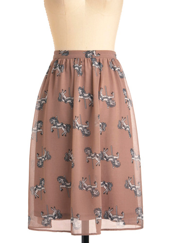 Carousel of Time Skirt by Sugarhill Boutique - Long, Tan, Black, White, Print with Animals, Casual, Fairytale, International Designer