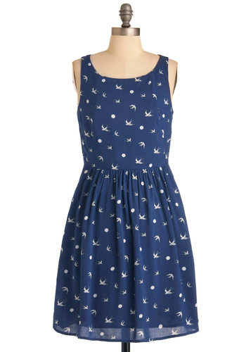 Sailing Through the Air Dress by Sugarhill Boutique - Mid-length, Casual, Nautical, Blue, White, Print with Animals, A-line, Polka Dots, Pockets, Tank top (2 thick straps), International Designer