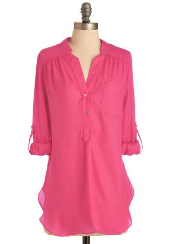 Pam Breeze-ly Tunic in Hot Pink - Pink, Solid, Buttons, Epaulets, Casual, Long Sleeve, 3/4 Sleeve, Spring, Long, Tab Sleeve