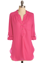 Tops - Pam Breeze-ly Tunic in Hot Pink