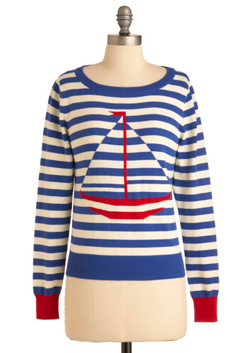 Staying in Ship Shape Sweater - Mid-length, Casual, Nautical, Red, White, Stripes, Long Sleeve, Multi, Blue, Spring, International Designer