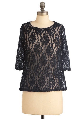Over and Overlay Top - Mid-length, Black, Floral, Lace, 3/4 Sleeve, Casual