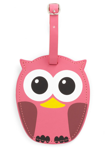 Whos Hoot Luggage Tag in Pink by Kikkerland - Pink, Buckles, Owls, Travel, Travel