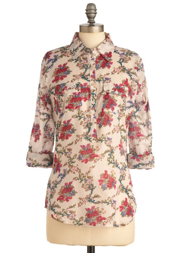Blouse Party Top - Casual, Red, Green, Blue, Floral, Buttons, Pockets, Long Sleeve, Cream, Multi, Spring, Mid-length