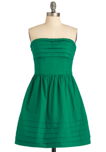 What a Keeper Dress in Green by Jack by BB Dakota - Green, Solid, Pleats, A-line, Strapless, Wedding, Party, Mid-length