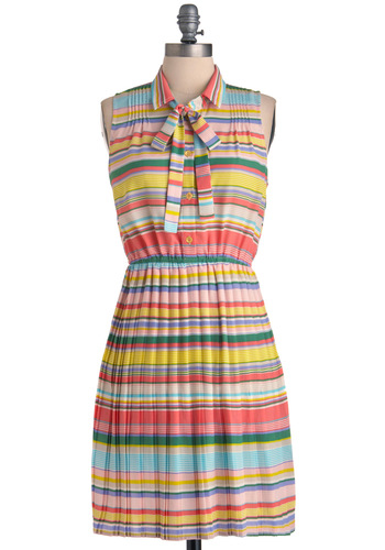 Beach Club Dress - Mid-length, Vintage Inspired, Multi, Yellow, Green, Blue, Purple, Pink, Tan / Cream, Stripes, Shift, Sleeveless