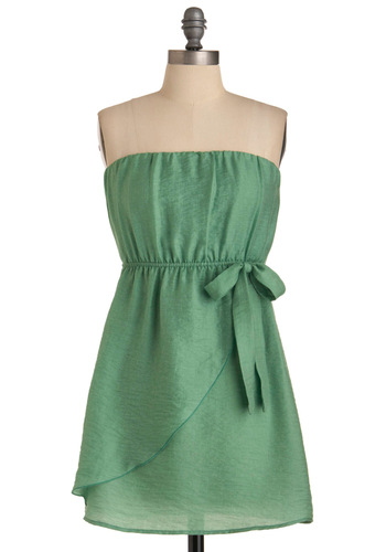 Lily Pad Pretty Dress - Green, Solid, Bows, A-line, Strapless, Party, Wrap, Short