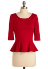I Can Seed Clearly Top in Cherry - Red, Solid, Exposed zipper, 3/4 Sleeve, Ruffles, Casual, Mid-length