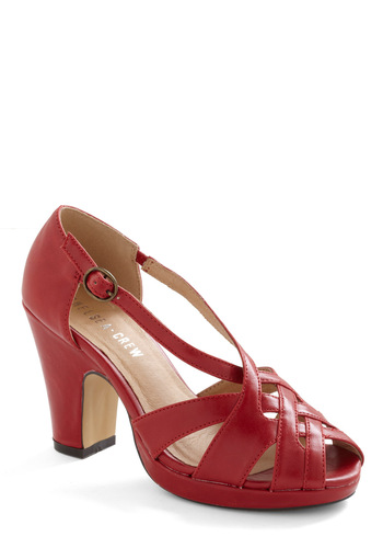 Be-weave in Miracles Heel by Chelsea Crew - Red, Solid, Buckles, Woven, Leather, Platform, Peep Toe, Mid, Chunky heel