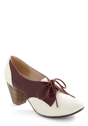 Soft Serve Heel in Burgundy by Chelsea Crew - Vintage Inspired, 40s, White, Red, Work, Rockabilly, Menswear Inspired, Mid-length, Variation