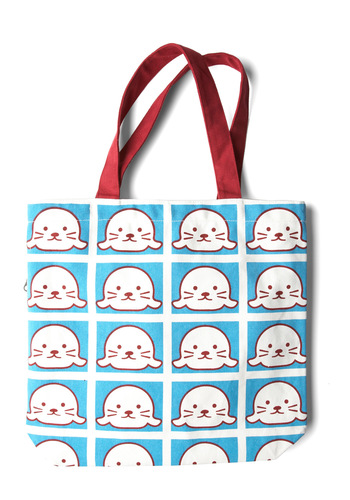 Gotta Get Going Tote in Seal - Casual, Kawaii, Blue, Red, White, Print with Animals