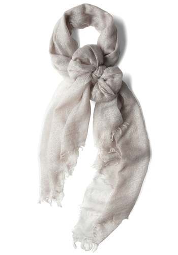 A Silver Flatter Scarf - Silver, Solid, Fringed