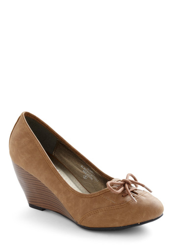 Campus Catwalk Wedge - Brown, Solid, Bows, Work, Wedge