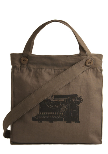 One Way Ticket Bag in Type by Effie's Heart - Brown, Black, Casual, Cotton, Buttons, Eco-Friendly, Travel, Military, Work