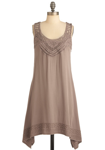 Sign Me Up Dress in Taupe - Mid-length, Casual, Boho, Tan, Solid, Crochet, Shift, Sleeveless, Embroidery, Handkerchief, Summer