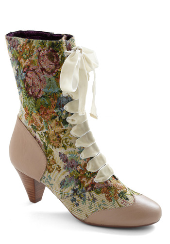 What's on Tapestry Boot in Bone by Poetic License - Tan, Floral, Vintage Inspired, Multi, Orange, Yellow, Green, Blue, Purple, Pink, White, Casual, 20s, 30s