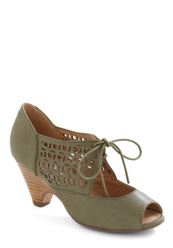 Cube Your Enthusiasm Heel in Olive by Chelsea Crew - Green, Solid, Cutout, Spring
