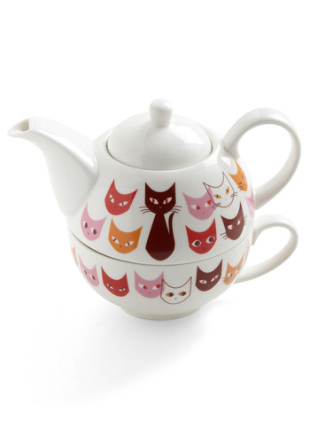 Get in Fe-line Tea Set - White, Multi, Red, Orange, Pink, Print with Animals