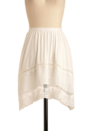 Cloud Not Be Happier Skirt by Jack by BB Dakota - Solid, Lace, White, Floral, Party, Spring, Short