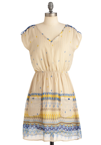 Crafting an Imagination Dress - Mid-length, Casual, Vintage Inspired, Print, Buttons, Pockets, A-line, Short Sleeves, Multi, Yellow, Blue, Tan / Cream, Sheer, V Neck