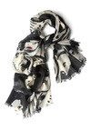 Painting Faces Scarf - Casual, Statement, Red, Tan / Cream, Fringed, Multi, Black, Print