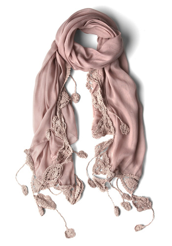 Folk Fete Scarf in Mauve - Pink, Solid, Crochet, Tassles, Tan / Cream, Boho