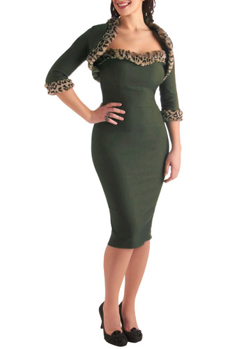 An Ocelot to Love Dress by Pinup Couture - Green, Trim, Rockabilly, Pinup, Vintage Inspired, Brown, Tan / Cream, Solid, Party, 60s, Sheath / Shift, 3/4 Sleeve, Strapless, Winter, Long