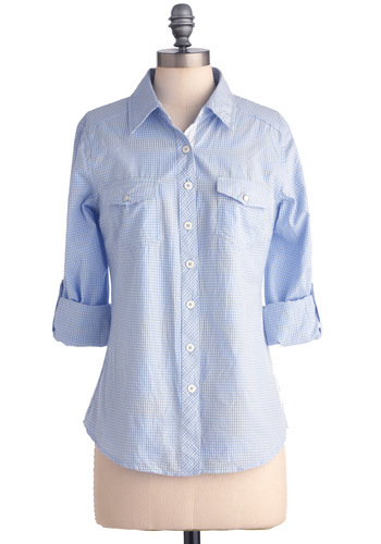 Wandering in Williamsburg Top in Check - Menswear Inspired, Blue, White, Checkered / Gingham, Buttons, Pockets, Long Sleeve, Casual, Mid-length