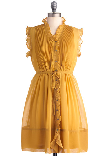 You Simply Mustard Dress - Mid-length, Yellow, Solid, Buttons, Pleats, Ruffles, A-line, Sleeveless, Casual, Shirt Dress, Belted, Sheer