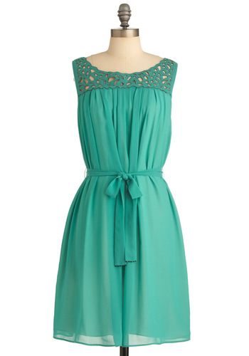 Archipelago for It Dress - Mid-length, Green, Solid, Cutout, Sleeveless, Beads, Pleats, Casual, Sheath / Shift, Spring