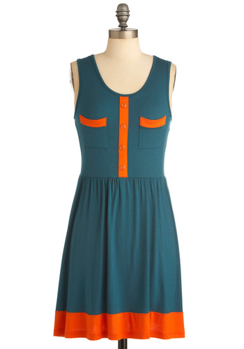 Lake It a Lot Dress - Mid-length, Green, Orange, Buttons, Pockets, Sleeveless, Casual, Sheath / Shift, Travel