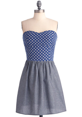 Feeling Finals Dress - Blue, White, Polka Dots, A-line, Strapless, Casual, Nautical, Mini, Twofer, Summer, Mid-length, Sweetheart