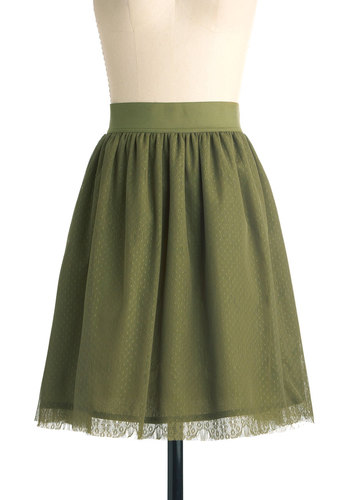 Herb All About It Skirt - Mid-length, Green, Solid, Lace, Casual, Ballerina / Tutu