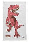Diner-saurs Tea Towel - Red, Print with Animals, Cotton, Best Seller, Best Seller, Quirky, Brown, Pink
