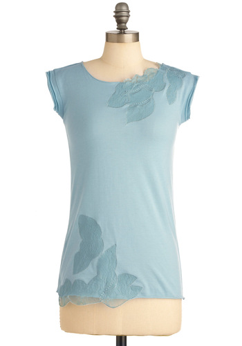 Blissful Blossoms Top - Blue, Solid, Lace, Cap Sleeves, Casual, Fairytale, Embroidery, Spring, Mid-length