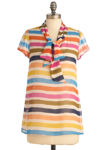 Burano Place Like Home Top - Casual, Bows, Short Sleeves, Multi, Orange, Yellow, Blue, Pink, Tan / Cream, Stripes, Mid-length