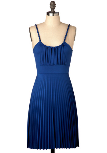 The Delphos Dress - Short, Blue, Braided, Pleats, Tis the Season Sale, Solid, Party, Summer