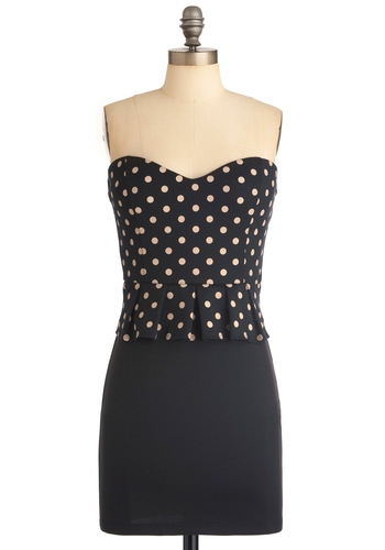 California Twirl Dress - Short, Rockabilly, Black, Tan / Cream, Polka Dots, Pleats, Shift, Strapless, Party, Mini, Pinup, Cocktail, Girls Night Out, Bodycon / Bandage, Peplum, Sweetheart