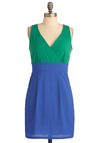 Two of a Kind Dress - Green, Pleats, Pockets, Sheath / Shift, Sleeveless, Urban, Blue, Short